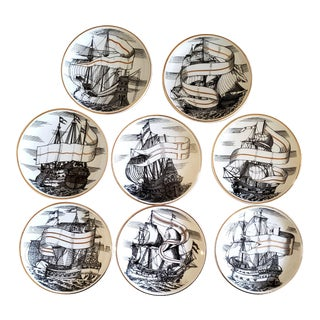 Piero Fornasetti Porcelain Set of Eight Ship Coasters- Velieri With Original Box For Sale