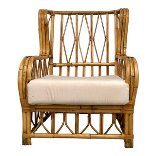 Vintage Mid Century Rattan Arm Chair For Sale