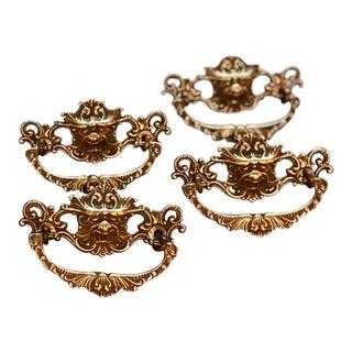 Antique Brass Gargoyle Drawer Pulls - Set of 4 For Sale