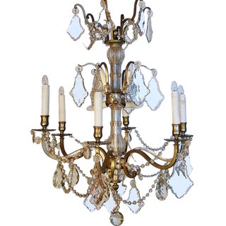 French 1940s Pewter Crystal and Glass Chandelier With Six Outer and Six Inner Lights For Sale