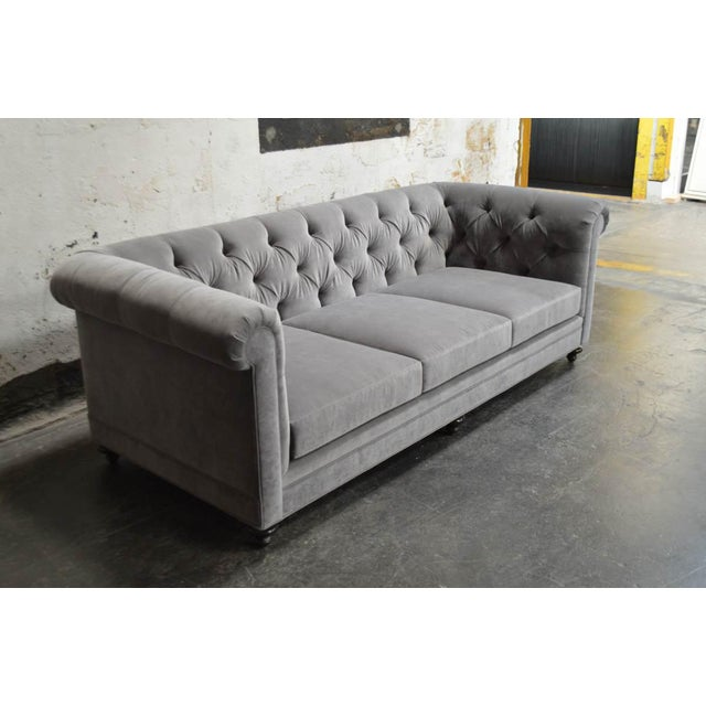 Modern Velvet Chesterfield Sofas- A Pair For Sale - Image 4 of 7