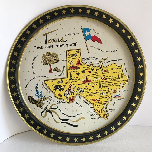 Yellow Vintage 1960 Texas Tin Tray For Sale - Image 8 of 9