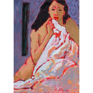 Rip Matteson Female Figure in Bed With Purple, Pink and Red Oil Painting, 20th Century For Sale