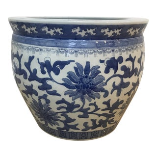 Ceramic Blue & White Floral Planter Flower Pot For Sale