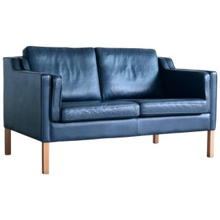 Børge Mogensen Model 2212 Style Two-Seat Sofa in Dark Sapphire Leather by Stouby For Sale