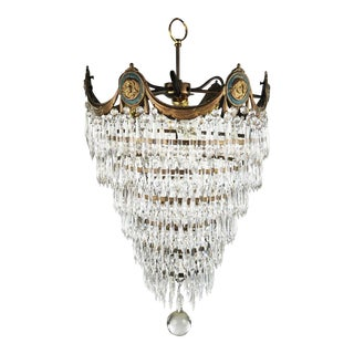 Early 20th C. 6 Tiered Crystal Wedding Cake Chandelier For Sale