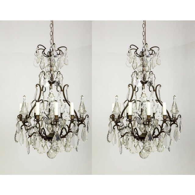 Parisian Second Empire Style Darkened Brass Chandeliers - a Pair For Sale - Image 13 of 13