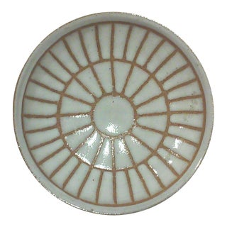 Martz Round Incised Sunburst Footed Bowl For Sale