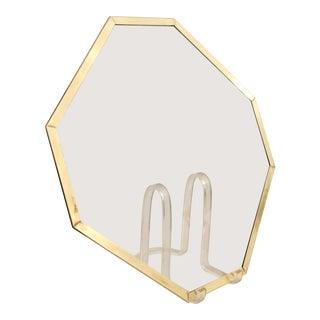 Glass & Brass Trim Octagonal Plateau For Sale