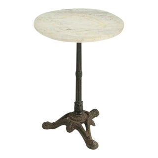 French Bistro Table With Cast Iron Base For Sale