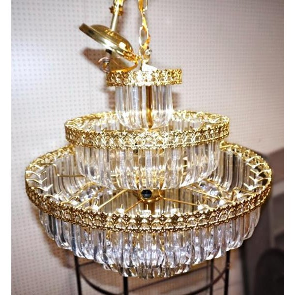 6-Tier Brass Lucite Chandelier Hanging Ceiling Light Fixture Lamp Shade Modern For Sale - Image 5 of 6