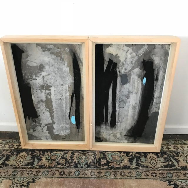 Black 1960s Vintage Graham Harmon Abstract Black and White Paintings - a Pair For Sale - Image 8 of 9