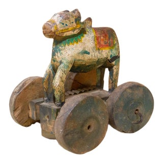 Antique Nandi Statuette on Wheels For Sale