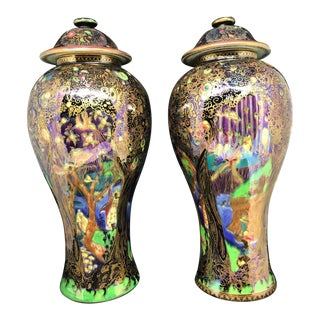 Antique Wedgwood Fairy Land Lustre Vases - A Pair For Sale