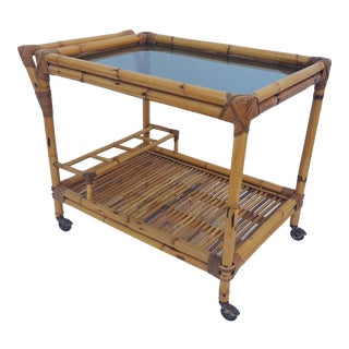 60' s Two Tier Rattan Bar Cart .