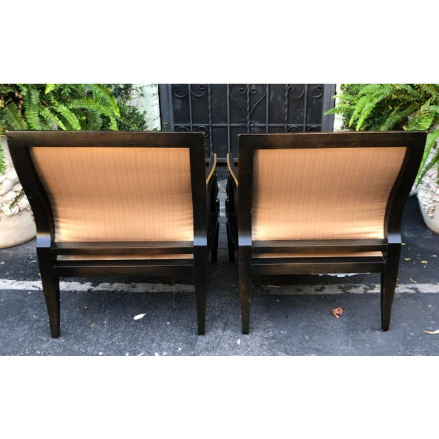 1950s Hollywood Recency Black & Gold Cane Arm Low Club Chairs - a Pair For Sale - Image 5 of 7