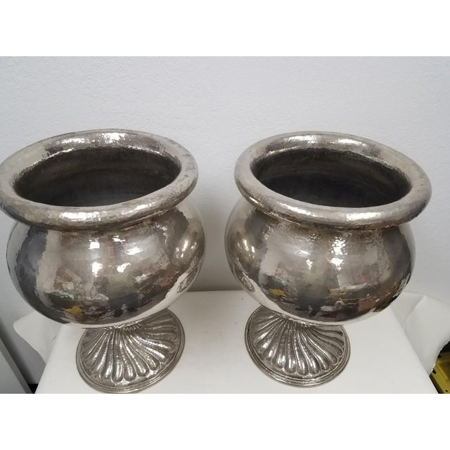 Vintage Matching Vintage Metal Planters - a Pair For Sale - Image 4 of 13