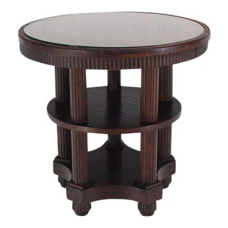 20th Century Art Deco Fluted Legs Round Center Pedestal Gueridon Table For Sale
