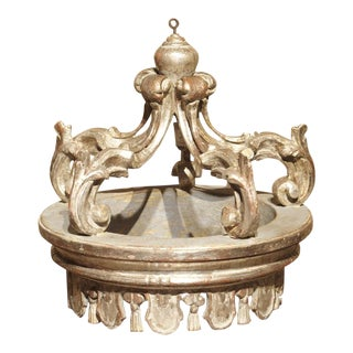 Italian Carved and Silver Gilt Bed Crown For Sale