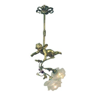 Antique French Bronze Putti Doré With Porcelain Roses Light Fixture For Sale