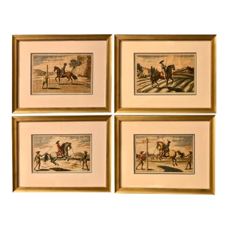 Hand Colored Equestrian Engravings, Nuremberg, 1678 - Set of 4 For Sale