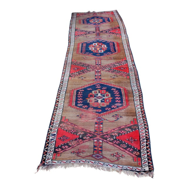 "Vintage Turkish Handknotted Anatolian Tribal Runner-3'4x11'2"" For Sale"