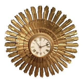 Mid-Century Modern Gold Starburst Wall Clock
