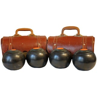 Lawn Bowls in Original Leather Cases - 6 Pc. Set For Sale