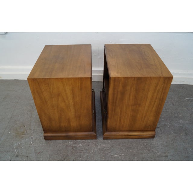 Brown Drexel Plaudit Vintage Walnut Nightstands - Pair For Sale - Image 8 of 10