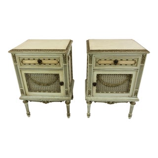 1920s French Louis XV Style Painted Nightstands - a Pair For Sale