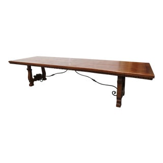 Primitive Carved Dining Room Table For Sale