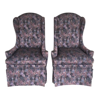 High Quality Contemporary Upholstered Fireside Accent Chairs - a Pair For Sale