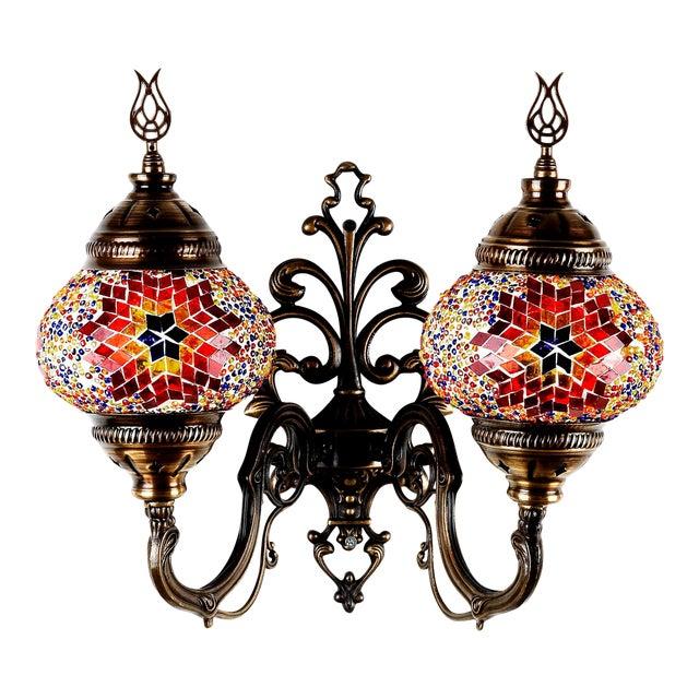 Turkish Handmade Mosaic Double Wall Sconce - Image 1 of 9