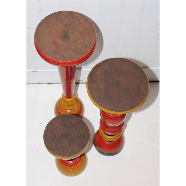 Collection of Three Polychrome Original Painted Candleholders For Sale In Los Angeles - Image 6 of 10