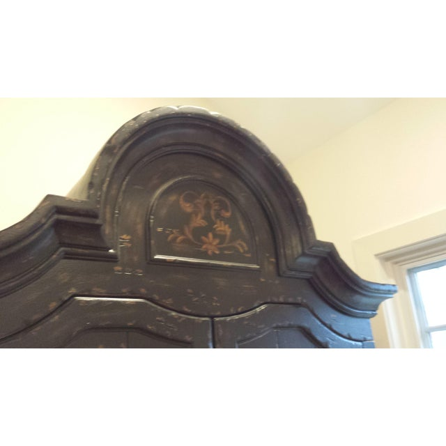 Wooden Floral Decorated Armoire With Custom Trim - Image 7 of 8
