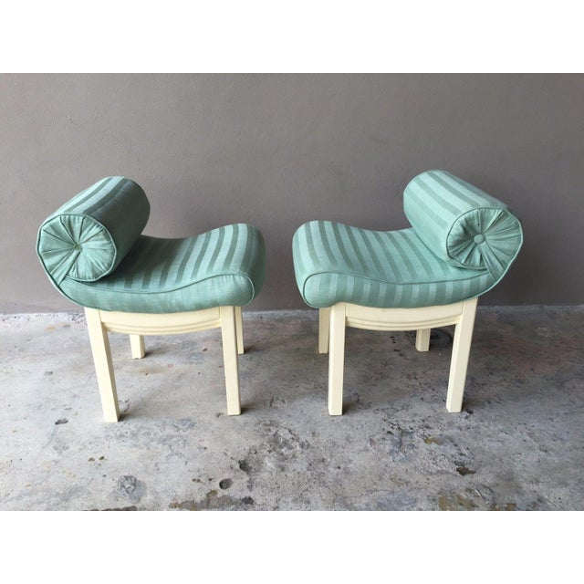 1950s Hollywood Regency Sensual Curvaceous Vanity Stools - a Pair For Sale - Image 9 of 9
