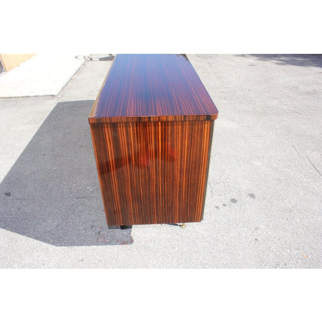 1940s Art Deco Exotic Macassar Ebony Mother-Of-Pearl Sideboard For Sale - Image 12 of 13