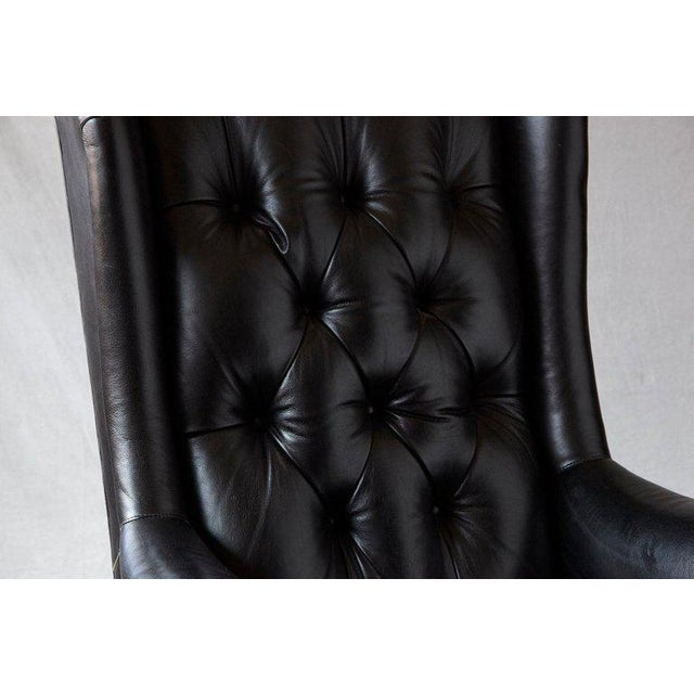 Tufted Black Leather Swivel -Tilt Executive Chair by Hancock & Moore For Sale In New York - Image 6 of 12