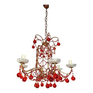 French Red Murano Ball and Chains Chandelier, circa 1940 For Sale