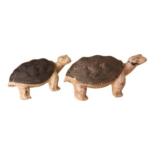 Rustic Wood Turtles Figurines - A Pair For Sale