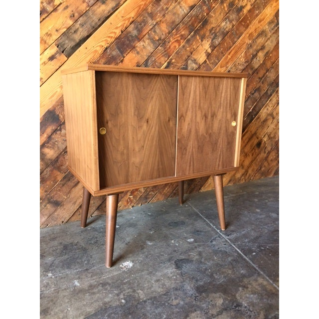 Mid-Century-Style Record Bar Cabinet For Sale - Image 4 of 5