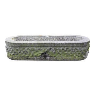 Oval, Hand-Carved Bluestone Textured Planter from Belgium, circa 1960 For Sale