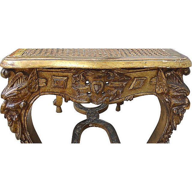 19th Century 19th Century Antique French Caned & Carved Gilt Bench For Sale - Image 5 of 9