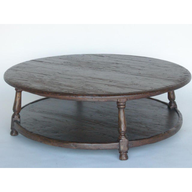 Custom Walnut Wood Round Colonial Coffee Table With Shelf - Image 2 of 10