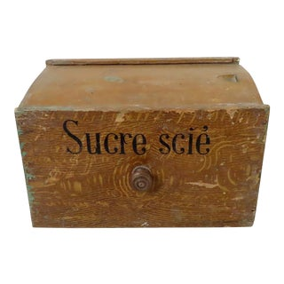 Antique Country French Grain Painted Wood Sugar Pantry Box For Sale