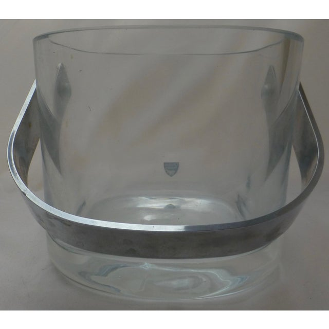 Orrefors Mid-Century Modern Glass & Chrome Ice Bucket - Image 5 of 10