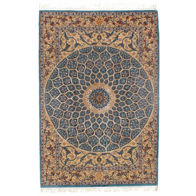 2010s Pasargad Persian Isfahan Korker Wool & Silk Highlighted Rug - 5′0″ × 7′5″ For Sale - Image 5 of 5