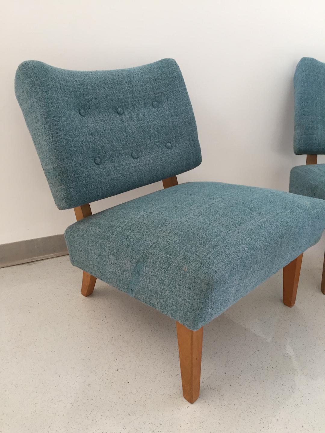 Superb Vintage Kroehler Teal Blue Accent Slipper Chairs   A Pair   Image 5 Of 11
