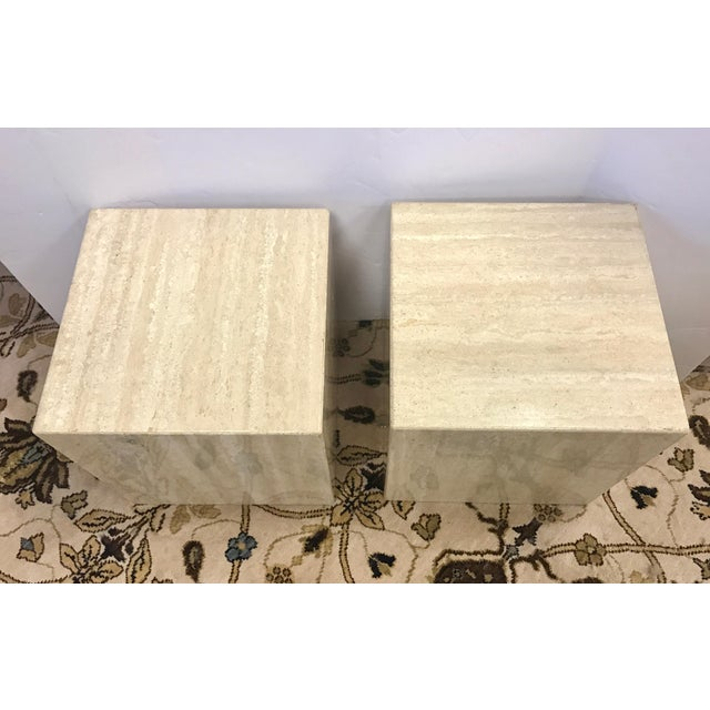 Mid-Century Modern Pair of Midcentury Travertine Cube End Table Stools Italy For Sale - Image 3 of 7