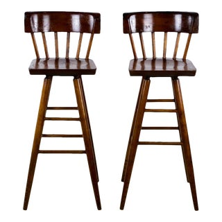 1900s English Traditional Mahogany Bar Stools - a Pair